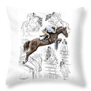 Contemplating Flight - Horse Jumper Print Color Tinted Throw Pillow