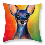 Contemporary Colorful Chihuahua Chiuaua Painting Throw Pillow