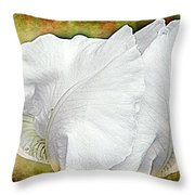 Contemporary White Iris Throw Pillow