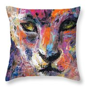 contemporary Wildlife painting cheetah leopard  Throw Pillow