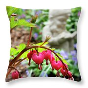 Content Gnome With Bleeding Hearts Throw Pillow