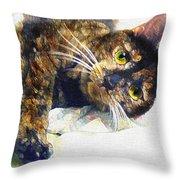 Contented Cat Throw Pillow
