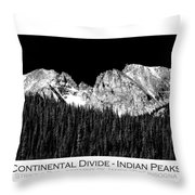 Continental Divide - Indian Peaks - Poster Throw Pillow