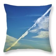 Contrails And Clouds Two  Throw Pillow