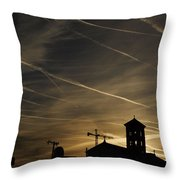 Contrails At Sunrise Throw Pillow