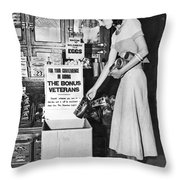 Contributions For Bonus Army Throw Pillow