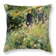 Conversation In A Rose Garden Throw Pillow by Pierre Auguste Renoir