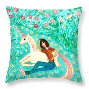 Conversation With A Unicorn Throw Pillow