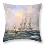 Convoy Of East Indiamen Amid Fishing Boats Throw Pillow by Richard Willis