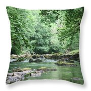 Conwy River Near Betws Y Coed.  Throw Pillow