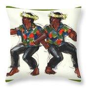 Cook Islands Ute Dancers Throw Pillow by Judith Kunzle