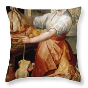 Cook With Chicken. In The Background Christ With Mary And Martha Throw Pillow