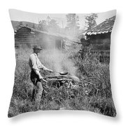 Cooking Over A Campfire Throw Pillow