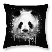 Cool Abstract Graffiti Watercolor Panda Portrait In Black And White  Throw Pillow