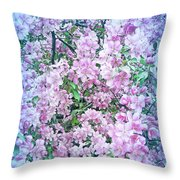 Cool Blue Apple Blossoms Throw Pillow
