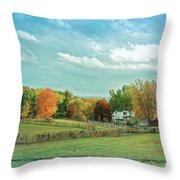 Cool Blue Autumn Farm Throw Pillow