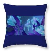 Cool Blue Lilies Throw Pillow