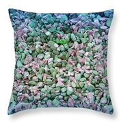 Cool Blue Pink Petals On Stones Throw Pillow