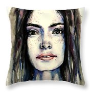 Cool Colored Watercolor Face Throw Pillow