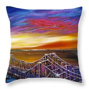 Cooper River Bridge Throw Pillow by James Christopher Hill