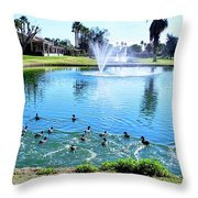 Coots On The Run In A Lake Throw Pillow