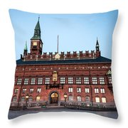 Copenhagen City Hall By Night Throw Pillow