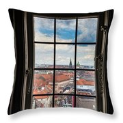 Copenhagen Cityscape And Roofs Behind A Window Throw Pillow