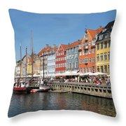 Copenhagen Harbor Throw Pillow