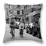 Copenhagen Lovers On Bicycles Bw Throw Pillow