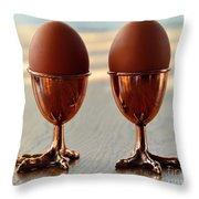 Copper Chicken Feet Egg Cups Throw Pillow