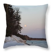 Copper Country Moonset Portrait Throw Pillow