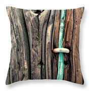 Copper Ground Wire And Knothole On Utility Pole Throw Pillow