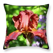 Copper Iris Triptych Squared Throw Pillow