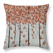 Copper Leaves Throw Pillow
