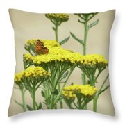 Copper On Yellow - Butterfly - Vignette 2 Throw Pillow