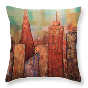 Copper Points, Cityscape Painting Throw Pillow