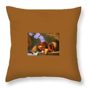Copper Pot With Clay Pot  Throw Pillow