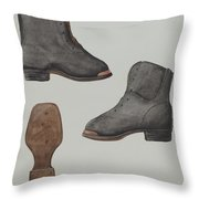 Copper-toed Child's Shoe Throw Pillow