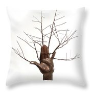 Copper Tree Hand A Sculpture By Adam Long Throw Pillow by Adam Long