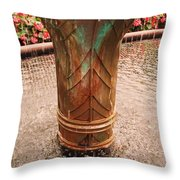 Copper Water Fountain Throw Pillow