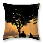 Cops Watch A Fireboat On The Hudson River Throw Pillow