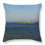 Coquet Island And Lighthouse Throw Pillow
