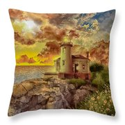 Coquille River Lighthouse 4 Throw Pillow