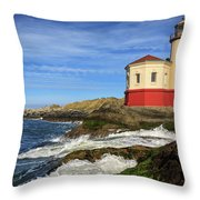 Coquille River Lighthouse At Bandon Throw Pillow