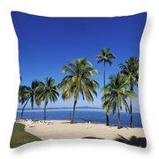 Coral Coast Palms Throw Pillow