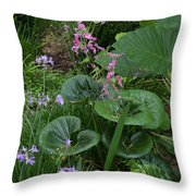Coral Flower Path Throw Pillow