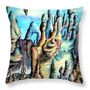 Coral Island, Stone City Of Alien Civilization Throw Pillow