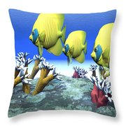 Coral Moods Throw Pillow by Corey Ford