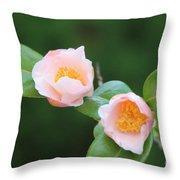Coral Camellia 2 Throw Pillow