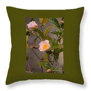 Coral Camellia Throw Pillow